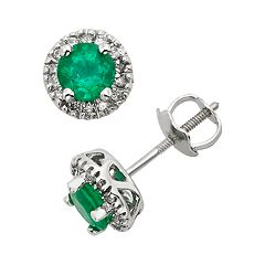The Regal Collection Emerald & 1/8 Carat T.W. IGL Certified Diamond 14k White Gold Tiered Halo Stud Earrings