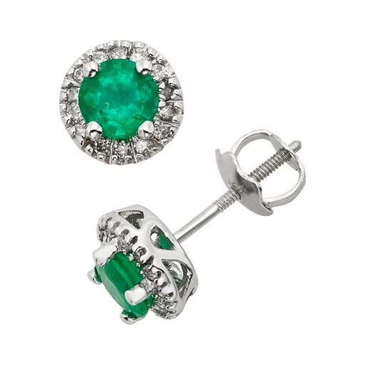The Regal Collection Emerald and 1/8 Carat T.W. IGL Certified Diamond 14k White Gold Tiered Halo Stud Earrings