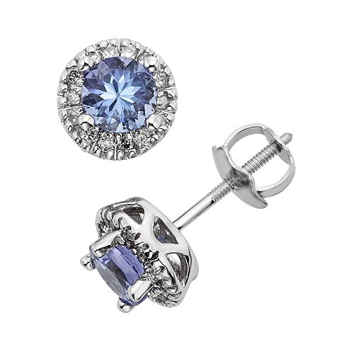 The Regal Collection Tanzanite & 1/8 Carat T.W. IGL Certified Diamond 14k White Gold Tiered Halo Stud Earrings