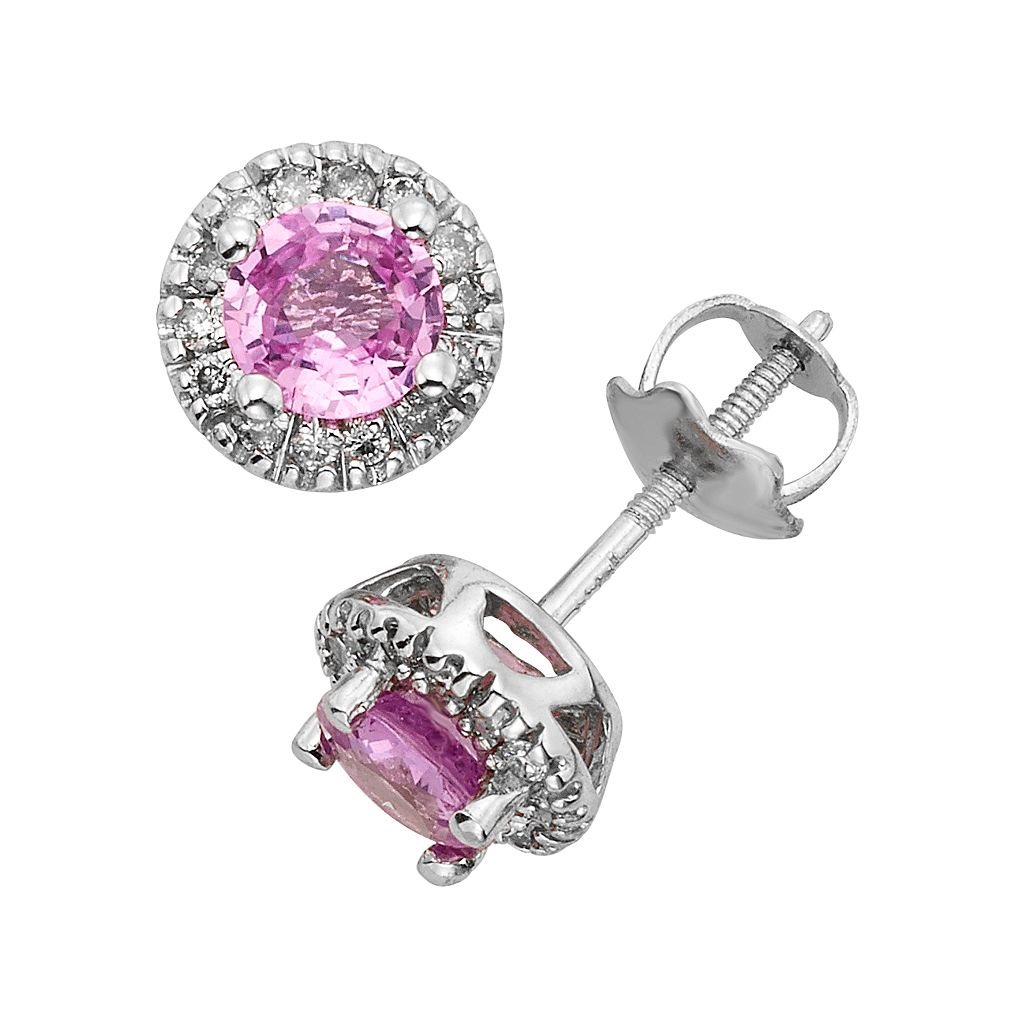 The Regal Collection Pink Sapphire & 1/8 Carat T.W. IGL Certified Diamond 14k White Gold Tiered Halo Stud Earrings
