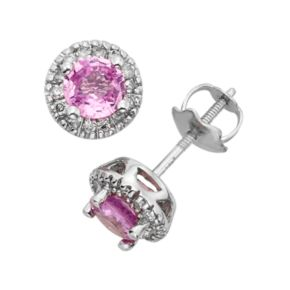 The Regal Collection Pink Sapphire and 1/8 Carat T.W. IGL Certified Diamond 14k White Gold Tiered Halo Stud Earrings