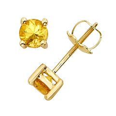 The Regal Collection Yellow Sapphire 14k Gold Stud Earrings