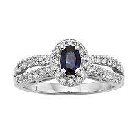 The Regal Collection Sapphire & 1/2 Carat T.W. IGL Certified Diamond 14k White Gold Tiered Oval Halo Ring