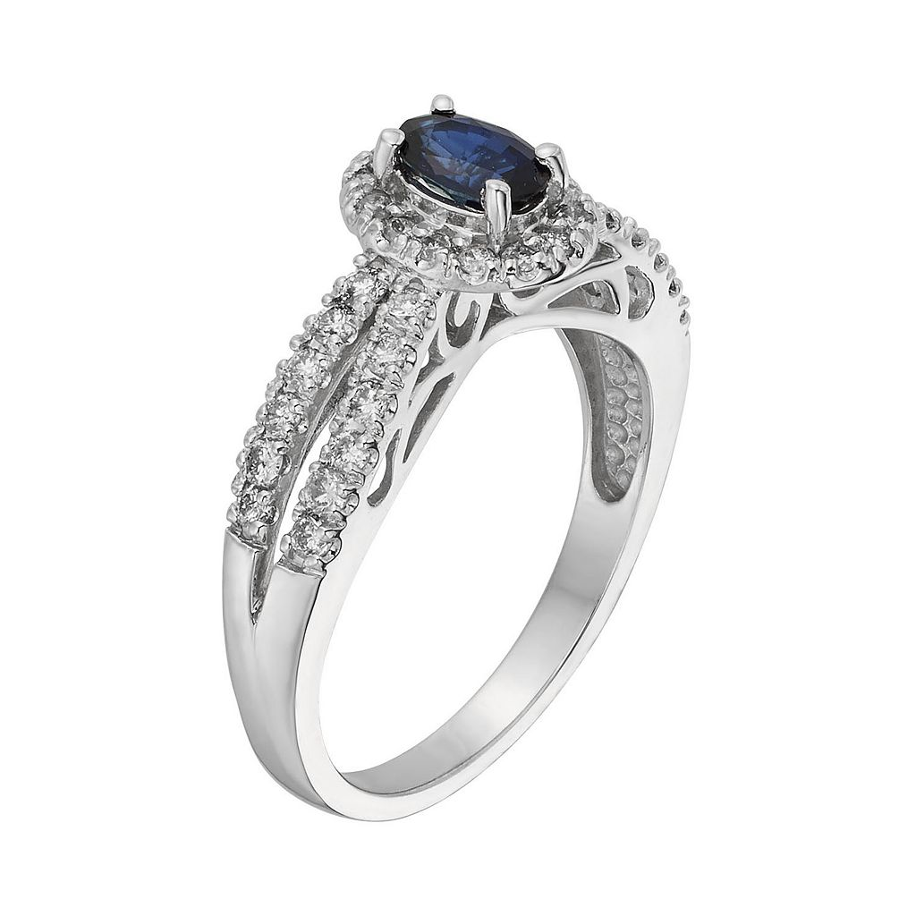 The Regal Collection Sapphire and 1/2 Carat T.W. IGL Certified Diamond 14k White Gold Tiered Oval Halo Ring