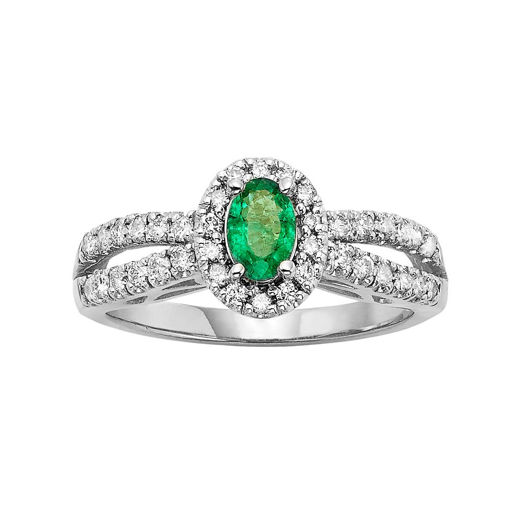 The Regal Collection Emerald & 1/2 Carat T.W. IGL Certified Diamond 14k White Gold Tiered Oval Halo Ring