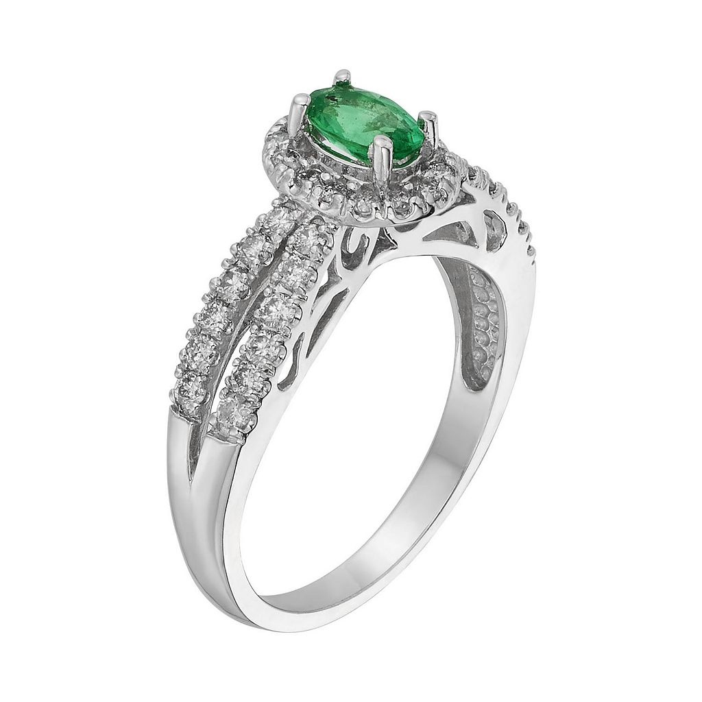 The Regal Collection Emerald and 1/2 Carat T.W. IGL Certified Diamond 14k White Gold Tiered Oval Halo Ring