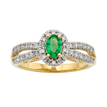 The Regal Collection Emerald & 1/2 Carat T.W. IGL Certified Diamond 14k Gold Tiered Oval Halo Ring