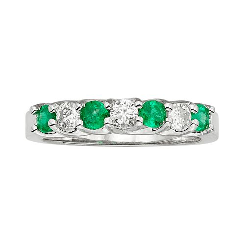 The Regal Collection Emerald & 1/3 Carat T.W. IGL Certified Diamond 14k White Gold Ring