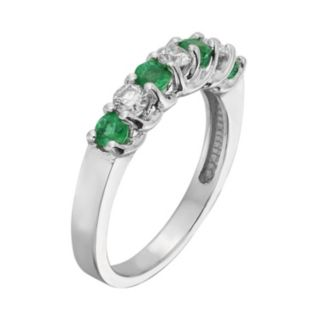 The Regal Collection Emerald and 1/3 Carat T.W. IGL Certified Diamond 14k White Gold Ring