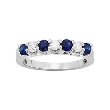 The Regal Collection Genuine Blue Sapphire & 1/3 Carat T.W. IGL Certified Diamond 14k White Gold Ring