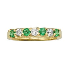 The Regal Collection Emerald & 1/3 Carat T.W. IGL Certified Diamond 14k Gold Ring