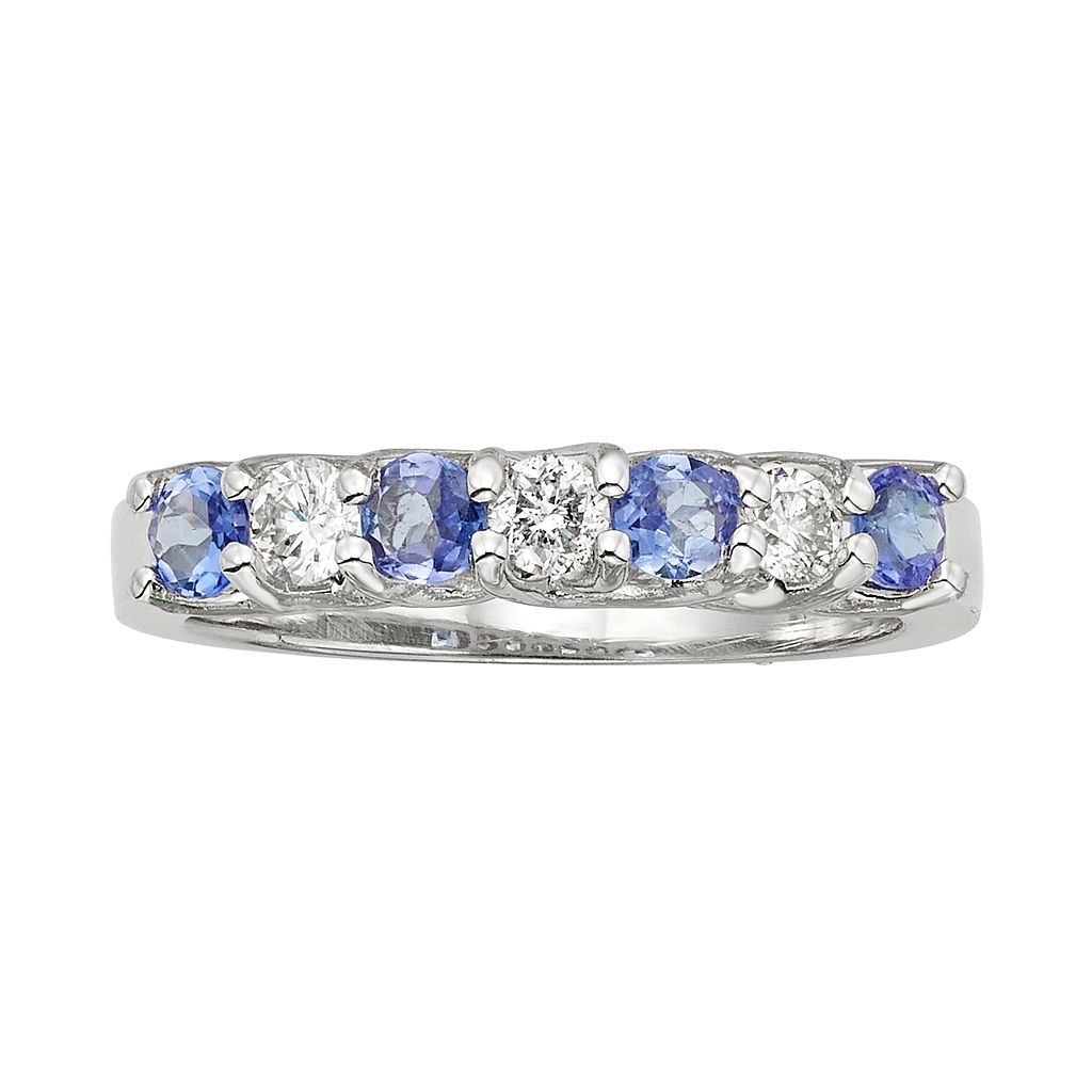 The Regal Collection Tanzanite & 1/3 Carat T.W. IGL Certified Diamond 14k White Gold Ring