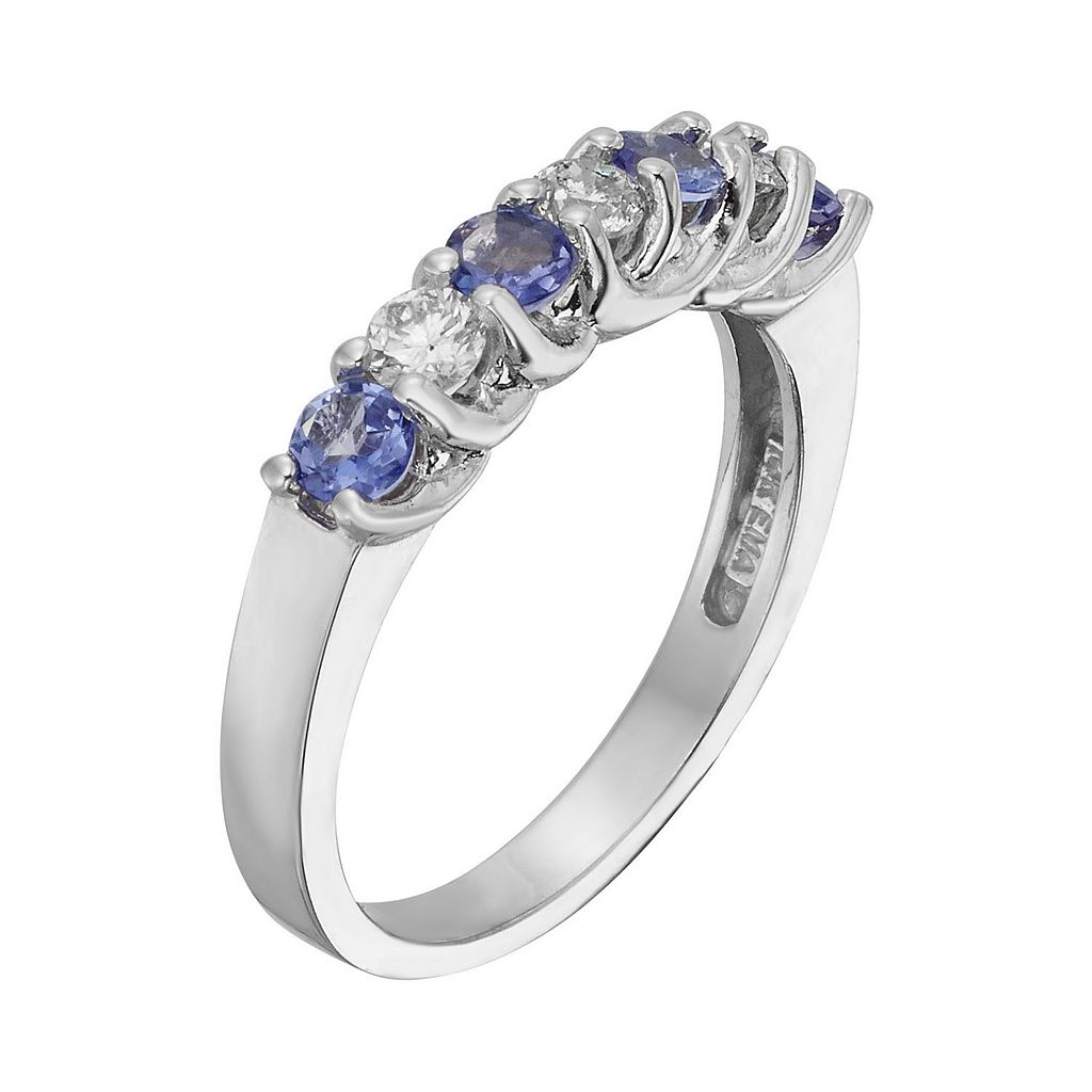 The Regal Collection Tanzanite and 1/3 Carat T.W. IGL Certified Diamond 14k White Gold Ring
