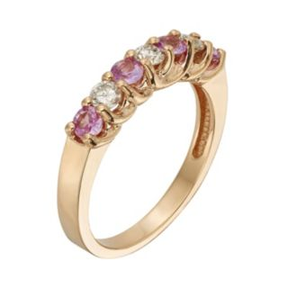 The Regal Collection Pink Sapphire and 1/3 Carat T.W. IGL Certified Diamond 14k Rose Gold Ring