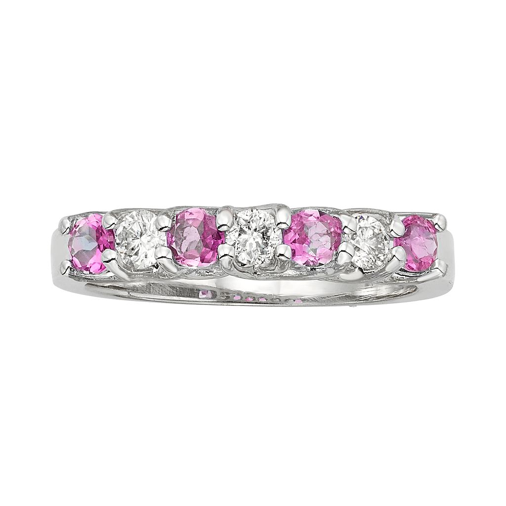 The Regal Collection Pink Sapphire & 1/3 Carat T.W. IGL Certified Diamond 14k Gold Ring