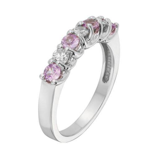 The Regal Collection Pink Sapphire and 1/3 Carat T.W. IGL Certified Diamond 14k Gold Ring