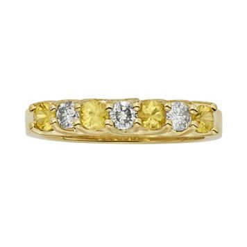 The Regal Collection Yellow Sapphire & 1/3 Carat T.W. IGL Certified Diamond 14k Gold Ring