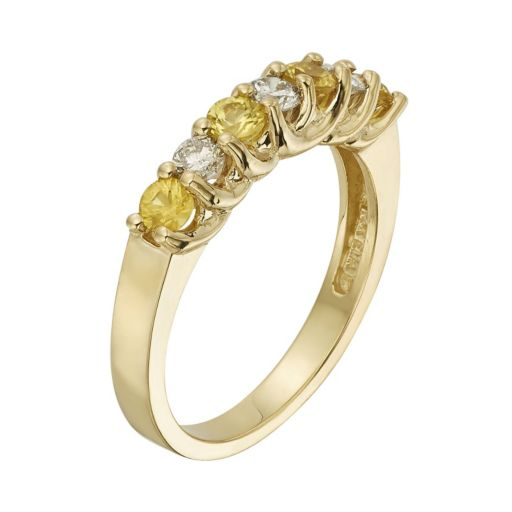 The Regal Collection Yellow Sapphire and 1/3 Carat T.W. IGL Certified Diamond 14k Gold Ring