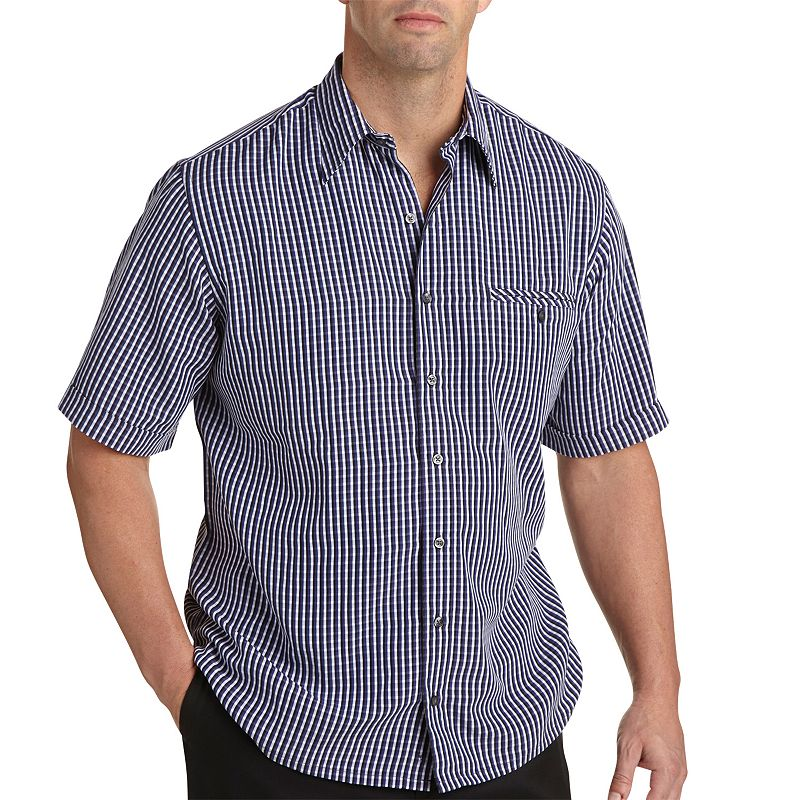Synrgy Checked Microfiber Casual Button-Down Shirt - Big & Tall