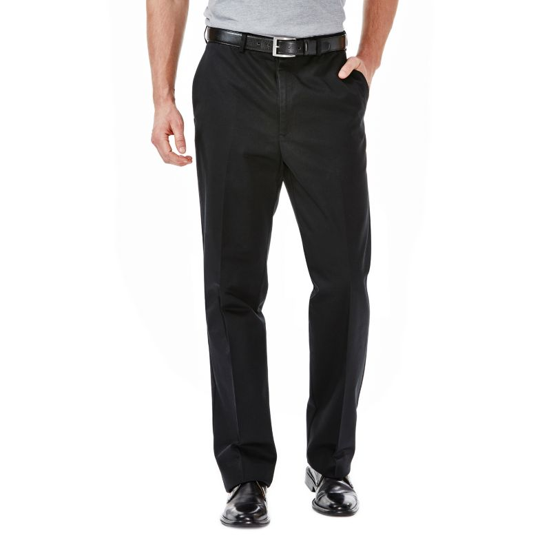 Haggar Work to Weekend Classic-Fit Flat-Front No-Iron Expandable Waist Pants - Men, Size: 38X30 (Black)