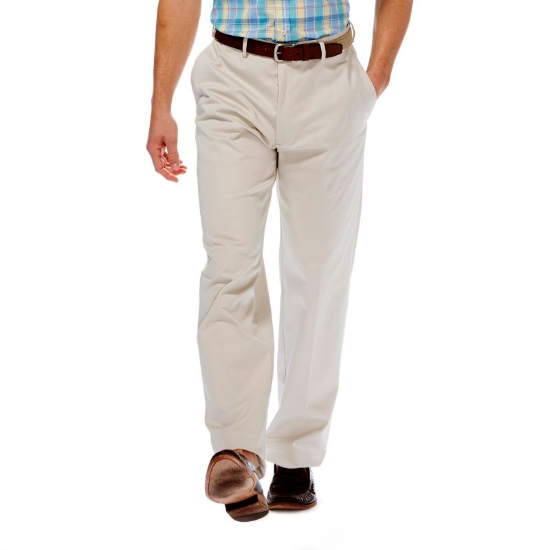 Haggar Work to Weekend Classic-Fit Flat-Front No-Iron Expandable Waist Pants - Men (Beige/Khaki)