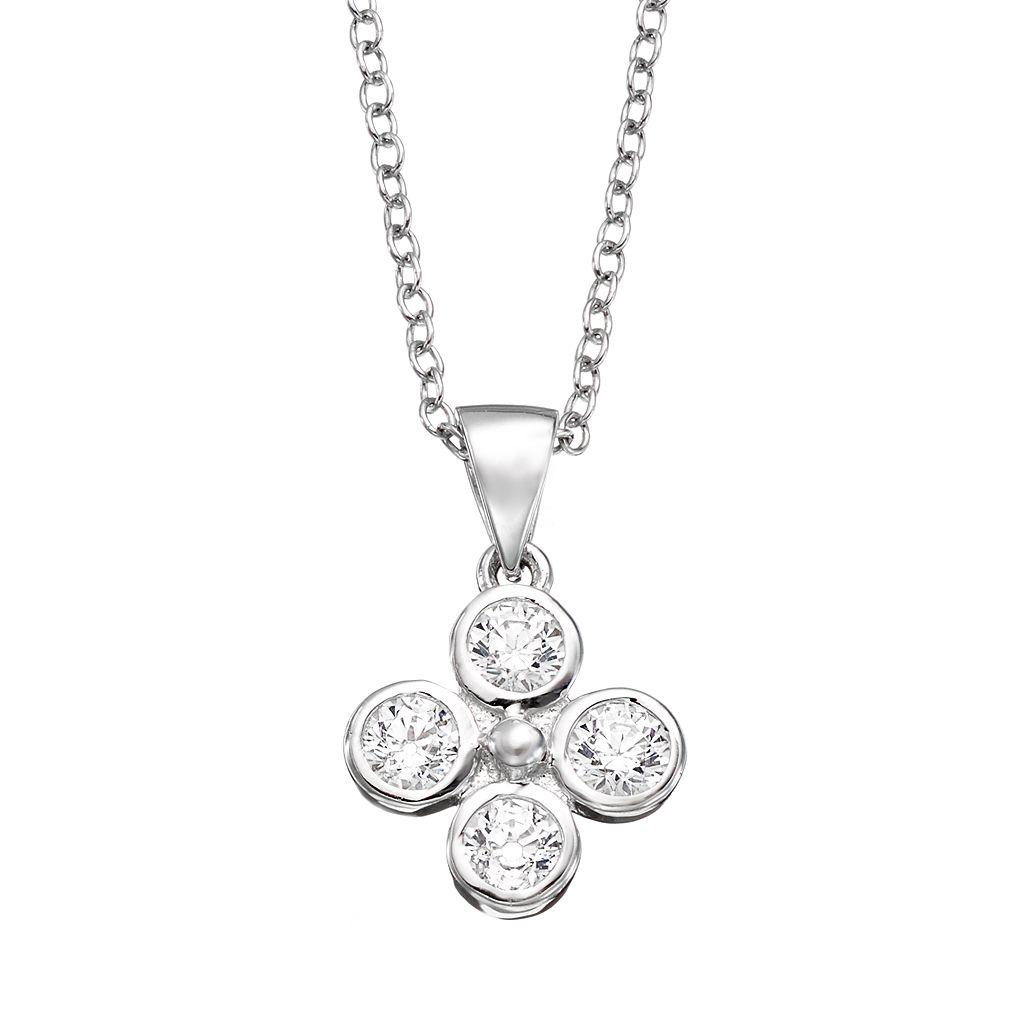 Sunstone 925 Sterling Silver Flower Pendant Necklace - Made with Swarovski Zirconia