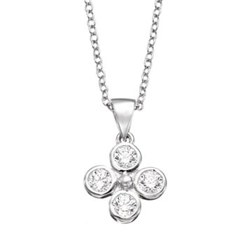 Sunstone 925 Sterling Silver Flower Pendant Necklace - Made with Swarovski Zirconia