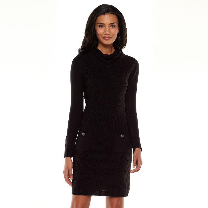 AB Studio Cable-Knit Sweater Dress - Women's (Black)
