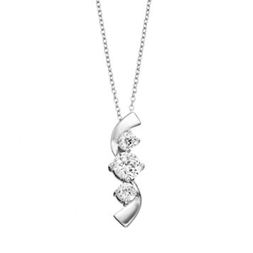Sunstone 925 Sterling Silver 3-Stone Journey Pendant Necklace - Made with Swarovski Zirconia