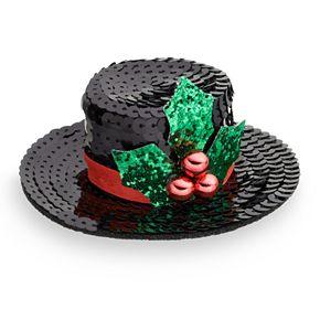 Top Hat And Mistletoe Hair Clip