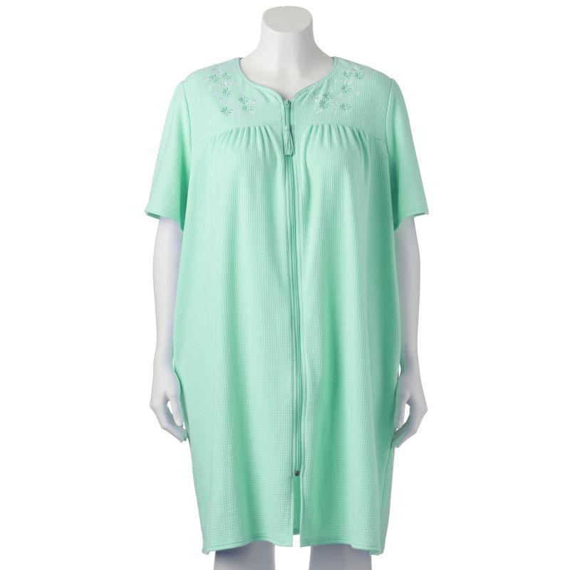 Croft & Barrow Knit Zip Duster Robe - Women's Plus Size