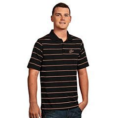 Men's Antigua Baltimore Orioles Deluxe Striped Desert Dry Xtra-Lite Performance Polo