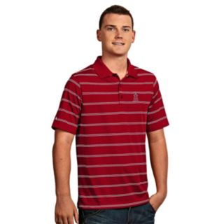 Men's Antigua Los Angeles Angels of Anaheim Deluxe Striped Desert Dry Xtra-Lite Performance Polo