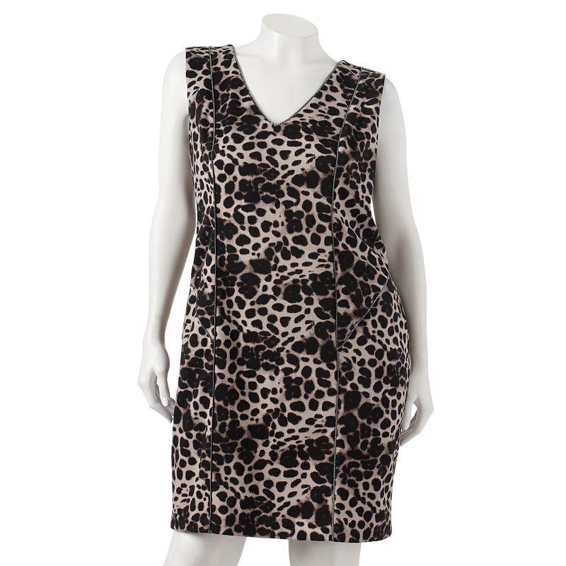 Jennifer Lopez Animal Embellished Ponte Sheath Dress - Women's Plus