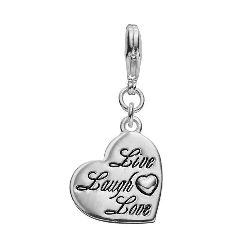 "Blue La Rue Silver-Plated ""Live Laugh Love"" Heart Charm"