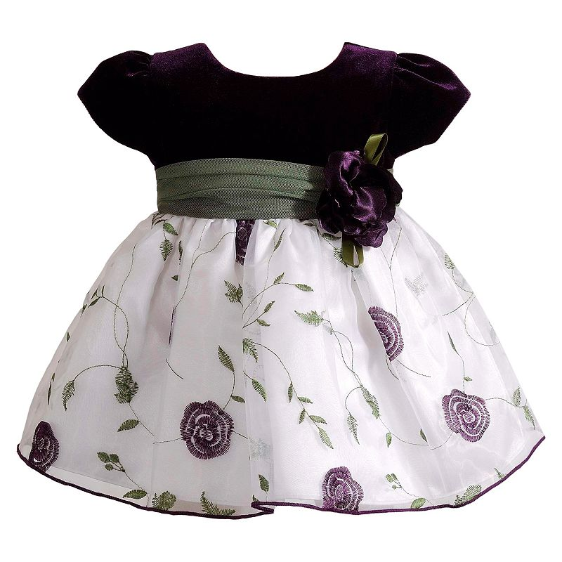Youngland Velour Floral Dress - Baby Girl