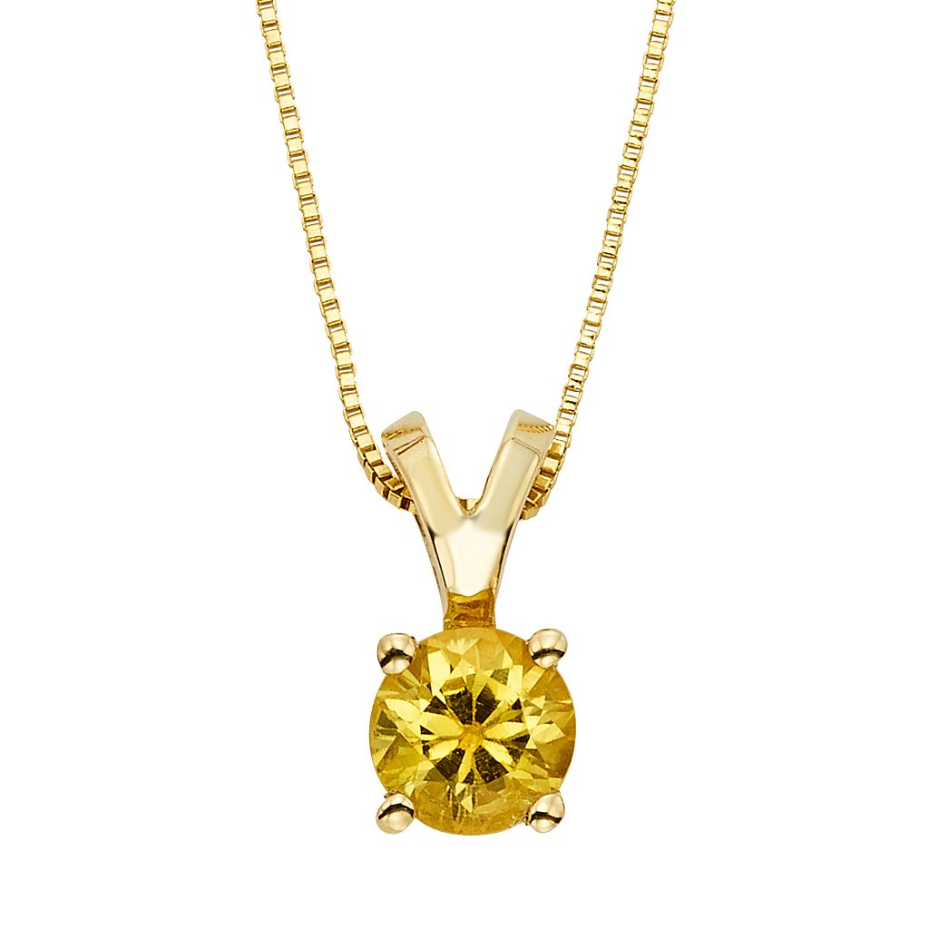 The Regal Collection Yellow Sapphire 14k Gold Pendant Necklace