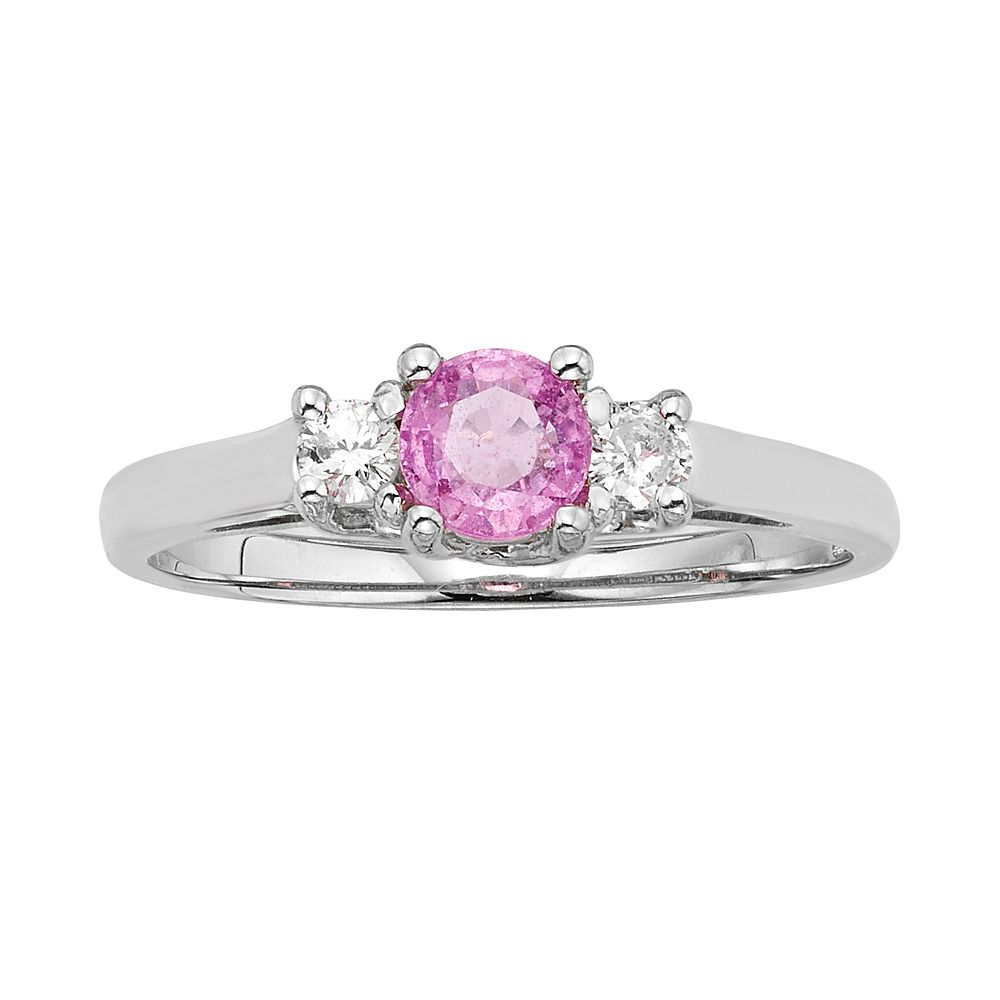 The Regal Collection Pink Sapphire & 1/8 Carat T.W. IGL Certified Diamond 14k Gold 3-Stone Ring