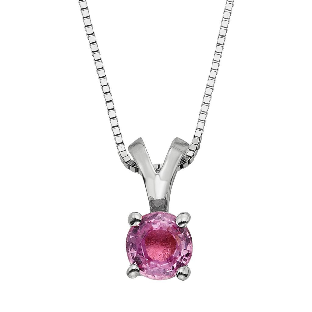 The Regal Collection Pink Sapphire 14k Gold Pendant Necklace