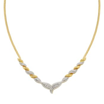 1/4 Carat T.W. Diamond 14k Gold-Plated Necklace