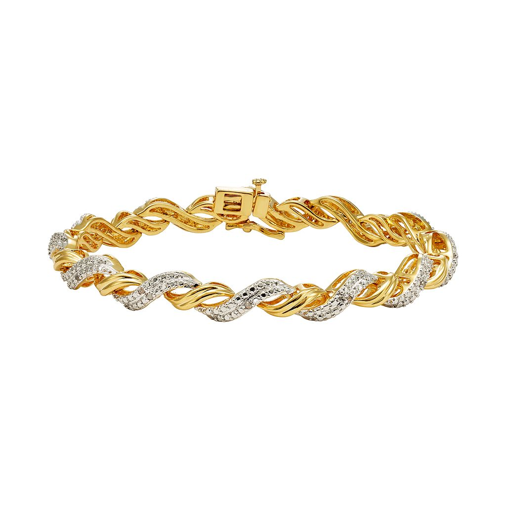 1/4 Carat T.W. Diamond 14k Gold-Plated Twist Bracelet