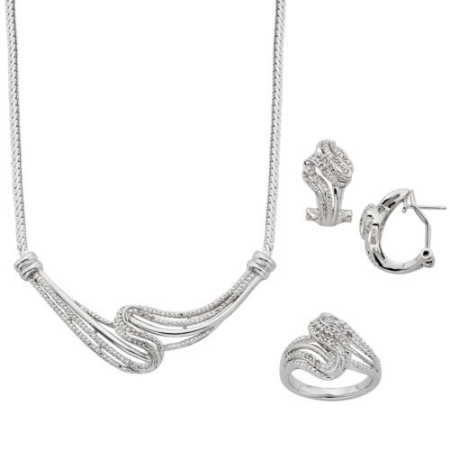 1/4 Carat T.W. Diamond Silver-Plated Swirl Necklace, Ring and Oval Hoop Earring Set