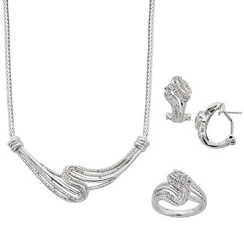 1/4 Carat T.W. Diamond Silver-Plated Swirl Necklace, Ring & Oval Hoop Earring Set