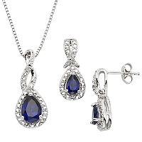 Lab-Created Sapphire & Diamond Accent Silver-Plated Teardrop Halo Pendant Necklace & Drop Earring Set