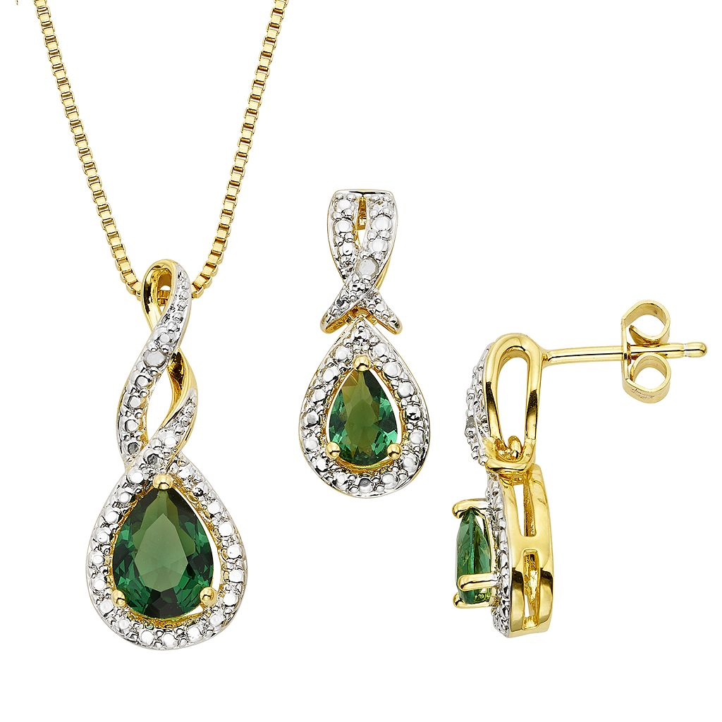 Lab-Created Emerald & Diamond Accent 14k Gold-Plated Teardrop Halo Pendant Necklace & Drop Earring Set