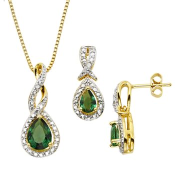 Lab-Created Emerald and Diamond Accent 14k Gold-Plated Teardrop Halo Pendant Necklace and Drop Earring Set