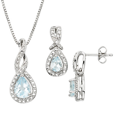 Blue Topaz and Diamond Accent Silver-Plated Teardrop Halo Pendant Necklace and Drop Earring Set