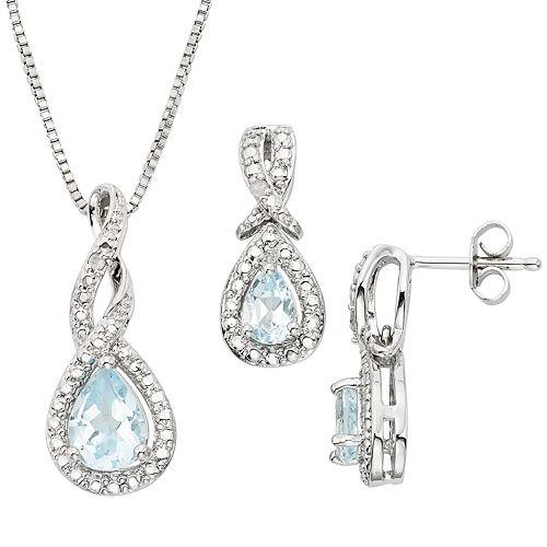 842fa1acd Blue Topaz & Diamond Accent Silver-Plated Teardrop Halo Pendant ...