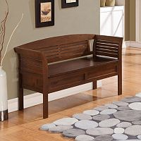 Simpli Home Arlington Rustic Brown Storage Bench