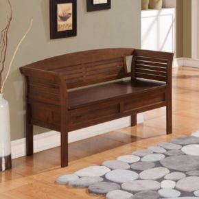 Simpli Home Arlington Rustic Brown Storage Bench